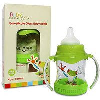 #1 Top Rated GoGlass Borosilicate Glass Baby Bottle 4 oz BPA Free With Extra Nipple Included Free (Green) - Best Feeding Bottles For Preemie, Newborns, Infants, and Toddlers Shower Gifts