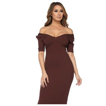Ribbed Cold Shoulder Midi Dress Chocolate