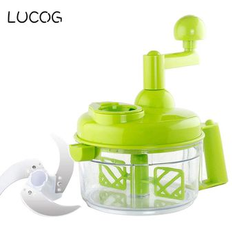 LUCOG Kitchen Manual Cutting Machine Hand-cranked Meat Pepper Grinder Vegetable Slicer Machine with Stainless Steel Blade
