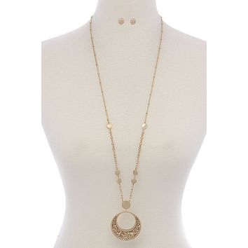 Cut Out Circle Rhinestone Pendant Beaded Long Necklace