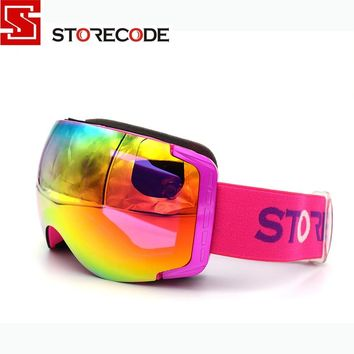 StoreCode Brand New Ski Goggles Double Lens Anti-Fog UV400 Snowboard Glasses Men Women Purple Frame Skiing Snow Goggles Set 658