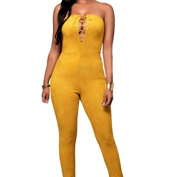 Chicloth Yellow Deep V Lace-up Faux Suede Strapless Jumpsuit