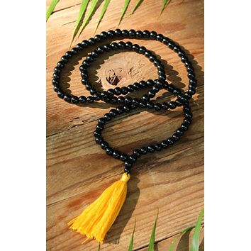 Black Onyx Buddhist Mala Beads Necklace with Yellow Tassels