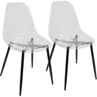Clara Mid-Century Modern Dining Chairs, Black & Clear (Set of 2)