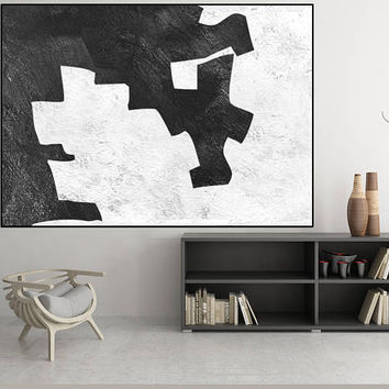 extra large painting, black and white wall art original painting,  Acrylic painting, canvas art,  art for big wall, Contemporary Painting