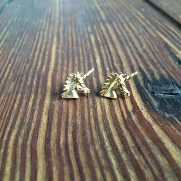 small vintage gold colored unicorn earrings, pierced, costume jewelry, studs