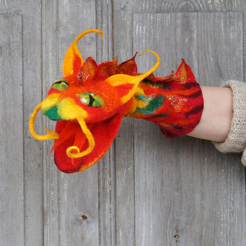 Hand puppet Red Dragon, felted toy for children's theater,  Muppet style creative play, nursery toy, eco-friendly, OOAK