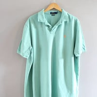 Ralph Lauren Polo Shirt Pastel Green Cotton Knit Classic Polo Button Up Short Sleeve Tee Minimalist Vintage 90s Size XL #T181A