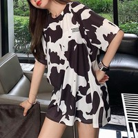 """Burberry"" Women Loose Fashion Milk Cow Pattern Print Short Sleeve T-shirt Top Tee"