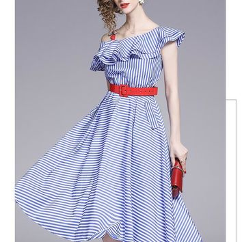 Layered Ruffle Striped Summer Casual Dress Latest Fashion Short Sleeve High Waist One Color White And Blue Striped Women Summer Dresses