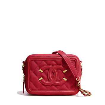 Clutch with Chain, grained calfskin & gold-tone metal, red - CHANEL