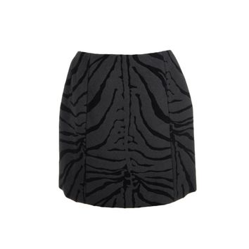 Carven Womens Wool Zebra Print A-Line Skirt
