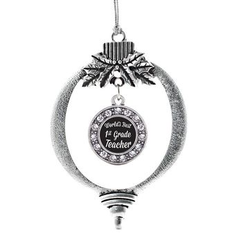 World's Best 1st Grade Teacher Circle Charm Holiday Ornament