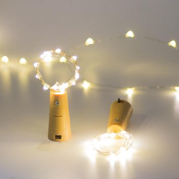 GFLAI White/Warm White 30Pcs/Pack Copper Wire Fairy Bottle Cork Lights 2M 20LEDs Christmas Decorations For Home