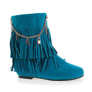 Screan Turquoise Children's Girls Mid Calf Fringe Charm Chain Flat Boots