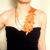 large orange lace necklace - floral bib hand dyed - bohemian steampunk vintage art deco - jewelry gift