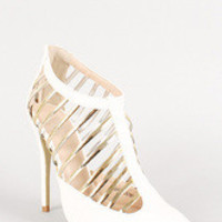 Women's Leatherette Metallic Caged Pointy Toe Pump