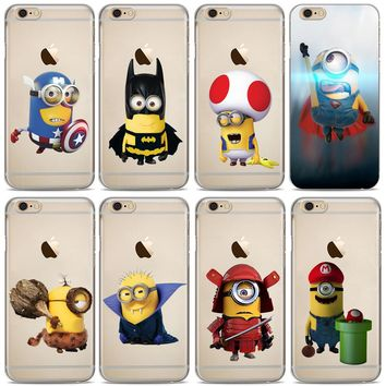 Minions Cute Cartoon Cosplay Superhero Marios Phone Cases For iPhone X 7 8 7Plus 6 6S Plus 5 5S SE Soft TPU Silicone Case Cover