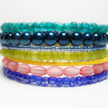 Stacked Bracelet Tapestry Blue Pink Teal Memory Wire Beaded Wrap