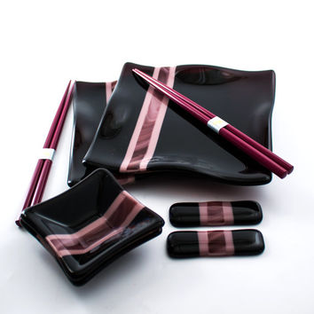 Sushi Serving Set - Asian Dinnerware - Deep Plum - Fused Glass - Square Plates - Dipping Sauce Bowls - Chopsticks - Couples Gift