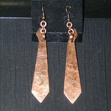 hand-hammered copper earrings, unique one of a kind earrings, Make a statement!