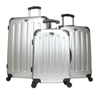 "Swiss Case SILVER 4 Wheel ABS 3 PC Suitcases 28"", 24"", & 20"" Luggage Set"