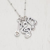silver treble clef necklace,music note necklace,teacher gift,best friend gift,friendship necklace,musician gift,recital gift,choir,musical