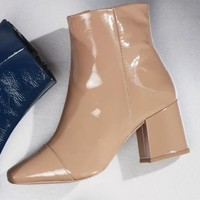 Buy Neutral Leather Block Heel Ankle Boots from Next Poland