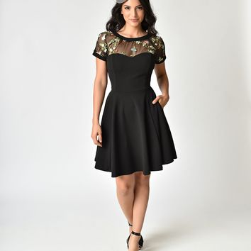 Retro Style Black & Floral Embroidery Sheer Neckline Swing Dress