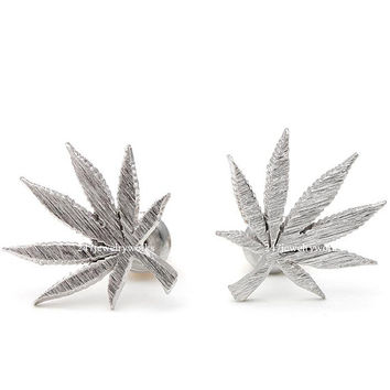 marijuana studs, marijuana earrings, leaf earrings, man studs, unique studs, tree studs, minimalist earrings, funky earrings