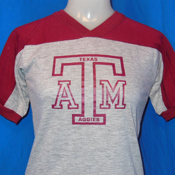 80s Texas A&M AggiesV-Neck Jersey Style t-shirt Youth Large 14-16
