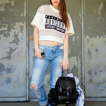 High Quality Sexy Lady Women PARENTAL ADVISORY Printed Crop Top t shirt Hollow Out Short T-Shirt Tops Women Cropped Top S M L