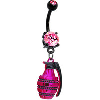 Pink and Black Hand Grenade Belly Ring | Body Candy Body Jewelry