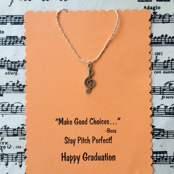 Pitch Perfect Graduation Necklace - Treble Clef