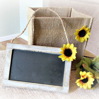 Mini Framed Hanging Chalkboard Sign, Small Rustic Wedding Chalkboard Sign, Sunflower Wedding Decor, Summer Autumn Rustic Wedding Decor