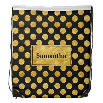 Faux gold dots pattern backpacks