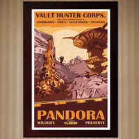 Borderlands 2 - Pandora - Wildlife Preserve - Vintage National Park Style Posters - 11x17