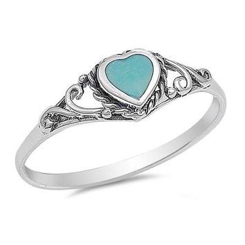 Vintage Style Heart Ring 925 Sterling Silver Heart Turquoise Promise Ring