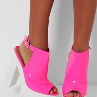Skittles Pink Slingback Tractor Sole Platform Shoes | Pink Boutique