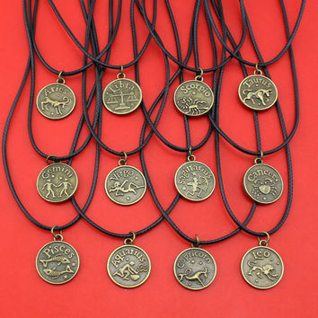 Zodiac Sign Vintage Bronze Tone Necklace
