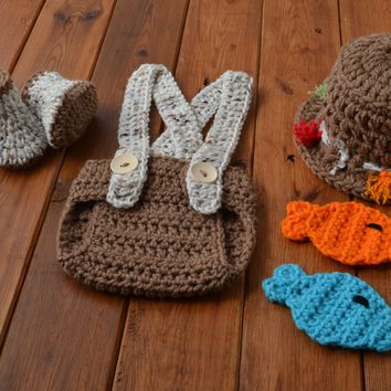 Crochet Baby Fishing Outfit Medium Brown Newborn Photo Prop