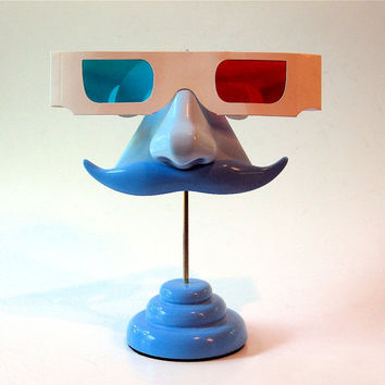 Blue Nose Eyeglass Stand Moustache Key Hooks by ArtAkimbo on Etsy