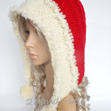 Santa Hat Adult Knit Oversized Christmas Elf Pixie Santa Hood Hat Chunky Pom Poms Red White