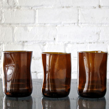 Brown Upcup Recycled Glass Tumblers – Set of 3