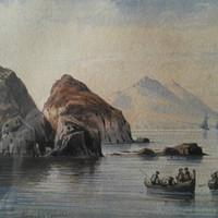 Consalvo Carelli (1818-1900) Watercolour Painting - Fishing boats in coastal scene (possibly Naples Bay) Listed artist