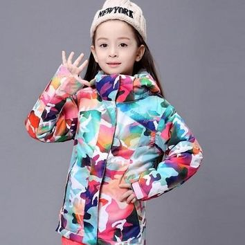 2016 childrens camouflage ski jackets multicolor snowboarding jackets kids skiing jackets skiwear anorak snow coat waterproof