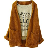 Partiss Womens Plus Size Loose Knitted Cardigan Sweater Small Beige