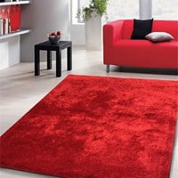 Solid Red Shag Area Rug Amore collection Hand Tufted Weave