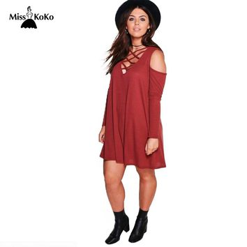 Plus Size Criss Cross Front Deep V Neck Cold Shoulder Mini Dress Solid Color Loose Mini Dress