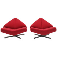 Pair of 1960 Architectural Swivel Base Chairs
